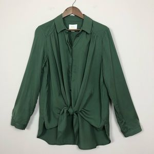 3/$30 Anthropologie Maeve Olive Tie Up Blouse 169